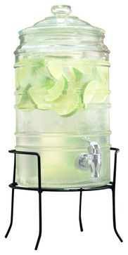 Cylinder Ribbed Glass Beverage Dispenser on Iron Rack -cups-and-glassware