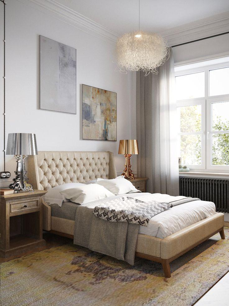 дизайн спальни в бело-бежевых тонах