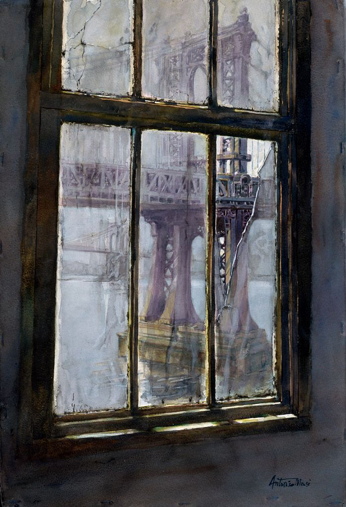 Broken Window - 30x22 by Antonio Masi. Check out this artist's city watercolors!