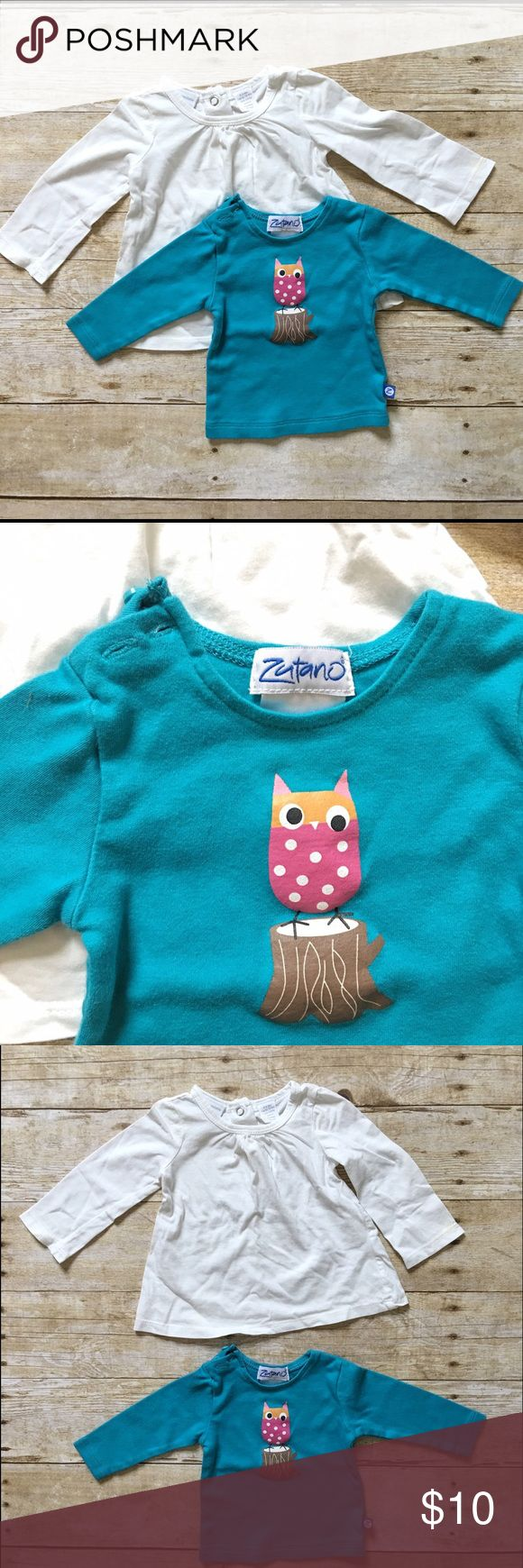 ZUTANO Owl Tee and White Tee Set Cute long sleeve tees to pair with jeans, skirts, leggings! Zutano Shirts & Tops Tees - Long Sleeve