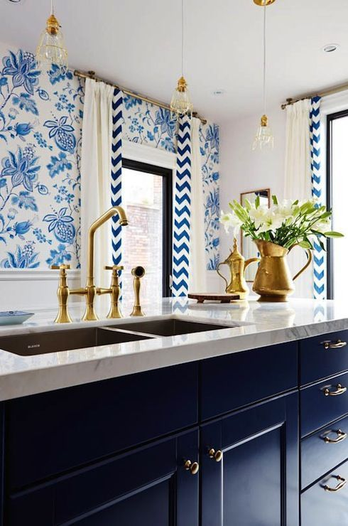 Navy cabinetry, Thibaut Donegal Wallpaper, brass hardware, brass drawer pulls | Sarah Richardson Design