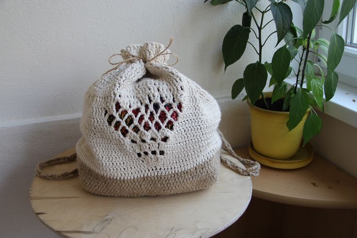 yaaay my new crochet backpack made of juta and cotton,, finally finished, it's my most favourite thing i've made so far