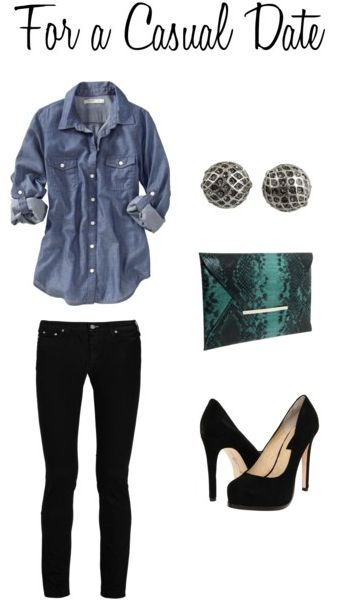 .: Casual Date Night, Black Skinny, Casual Date Outfits, Style, Chambray Shirts, Denim Shirts, Date Nights, Black Jeans, Black Pants