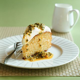 Lemon syrup cake with passionfruit cream