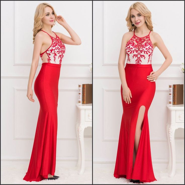 NEW Elegant Red Embroidered Overlay Nude Mesh Evening Formal Dress Avail 8-16  | eBay