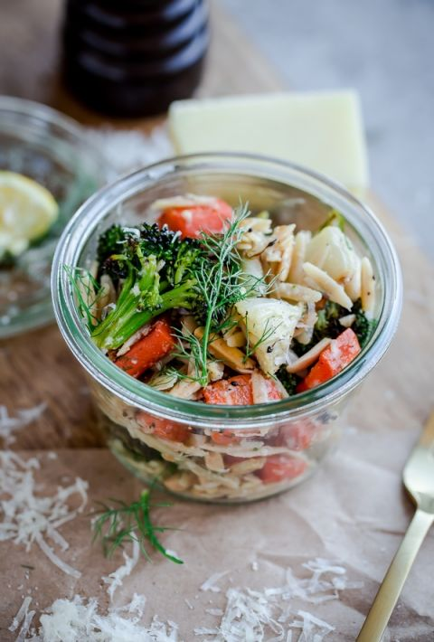 Roasted Vegetable Orzo Salad. A healthy, veggie-packed pasta with pecorino cheese and crunchy almonds!