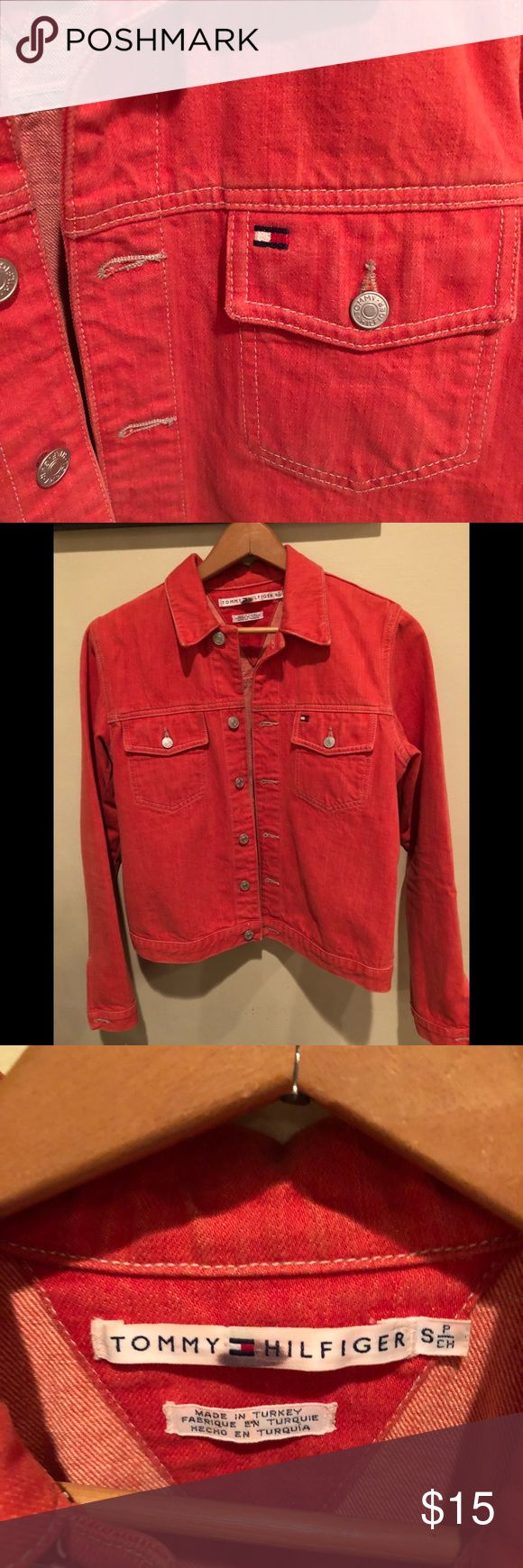 🍊Tommy Hilfiger outlet jean jacket! 🍊Super cute Tommy outlet denim jacket. Tangerine orange. Hits at waist. EUC. Fun piece for the spring!Smoke/pet-free home. Tommy Hilfiger Jackets & Coats Jean Jackets