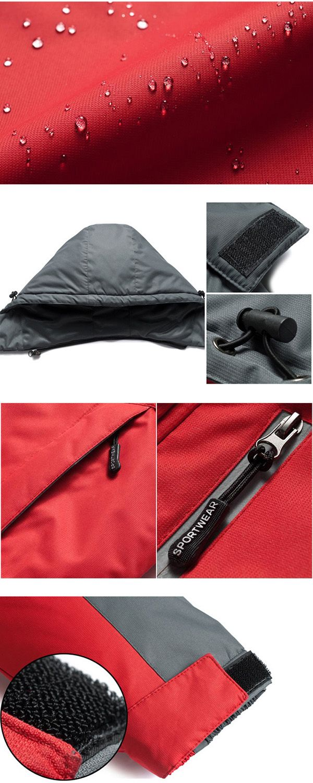 Mens Outdoor Waterproof Thick Fleece Winter Jacket Stand Mountaineering Ski Contrast Color Coat
