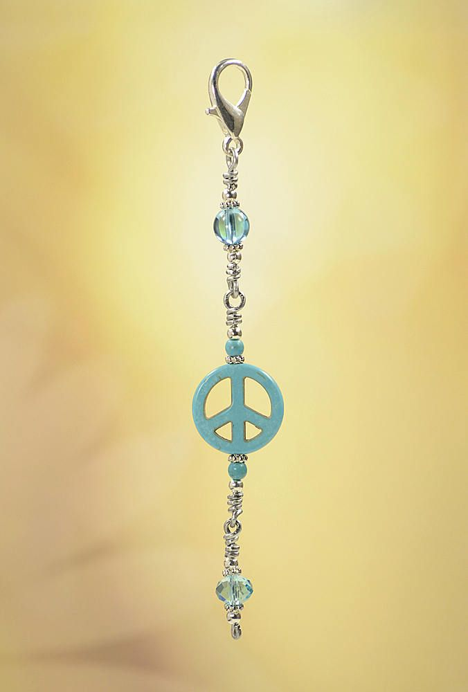 Peace Symbol Turquoise Purse Charm Zipper Pull #Z832 by VendiDemCreations on Etsy