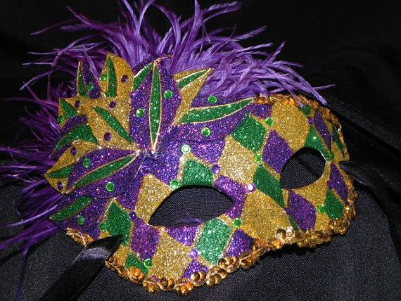 Items similar to Purple, Green and Gold Showgirl Mask on Etsy