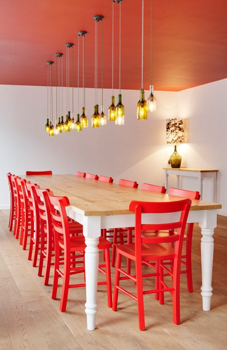 IQ Shoreditch By Naomi Cleaver Red Dining ChairsRed ChairsColorful ChairsDining SetDining RoomsRed InteriorsYoung ProfessionalEast London Bauhaus