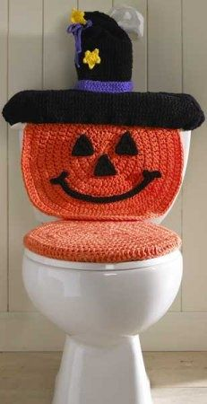 Halloween Pumpkin Witch Toilet Cover FREE Crochet Pattern