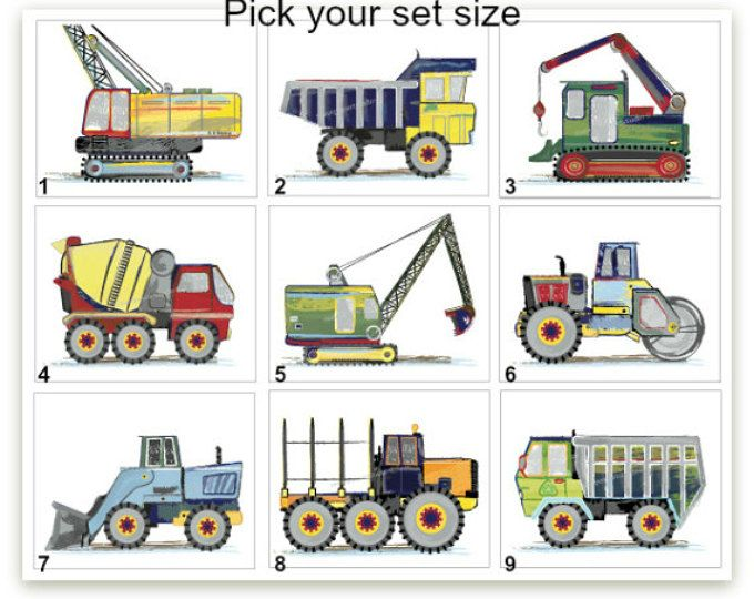 Construction Truck Art, Construction truck Art, Boy Construction Room Decor, Construction Bedroom Decor, Nursery, Pick your set size
