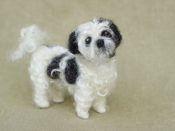 Needle felted Shih Tzu custom made miniature dog pet door Ainigmati