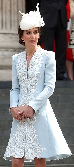 Catherine Walker pale blue overlay coatdress. Click for more info