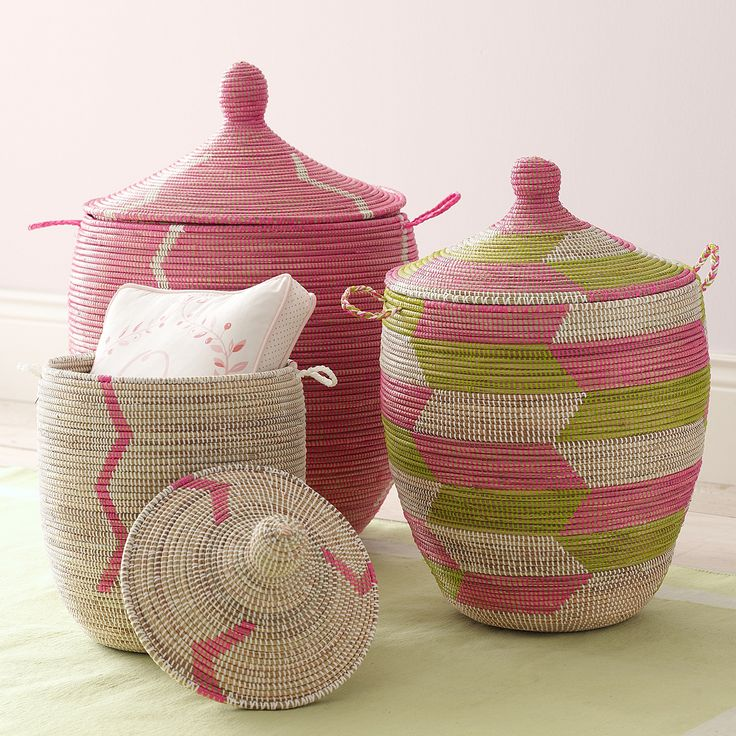 Senegalese Storage Baskets - Pink   Serena & Lily