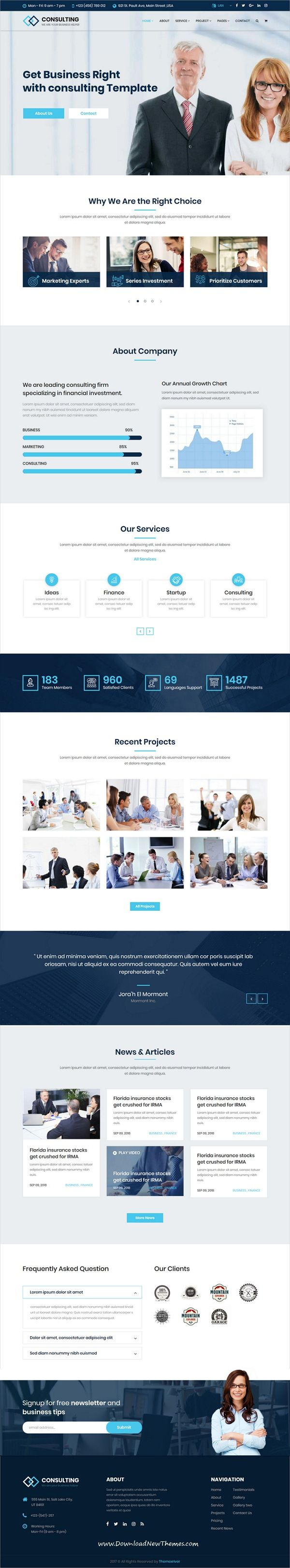 Consulting is clean and modern design 6in1 responsive #HTML5 bootstrap template for corporate, #agency business, finance and professional services website to live preview & download click on Visit  #webdesign