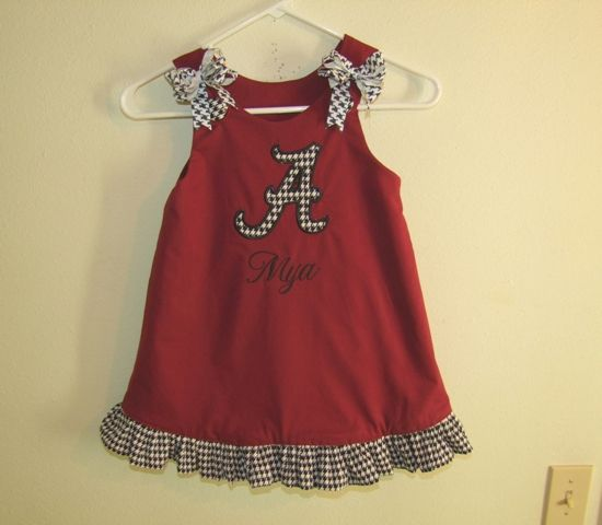 Maroon/Houndstooth Aline Dress with Alabama A-alabama,roll tide, football, baseball,team, clothing,outfit, set, girl, toddler, baby, clothes, cheerleader,handmade, embroidered