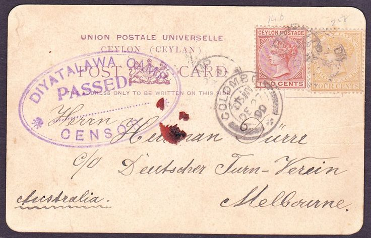 Postcard from Eugene Durr Prisoner No 8019 aged 24 from Augsburg Bavaria who was captured at Bethlehem on the 15th July 1900 serving with De Wets forces in the Battle of Bethlehem and who was sent to Diyatalawa Camp Ceylon on the Dilwara .He was a German national.  Posting of Stef Ferreira and description by Bernard Leigh du Plesis