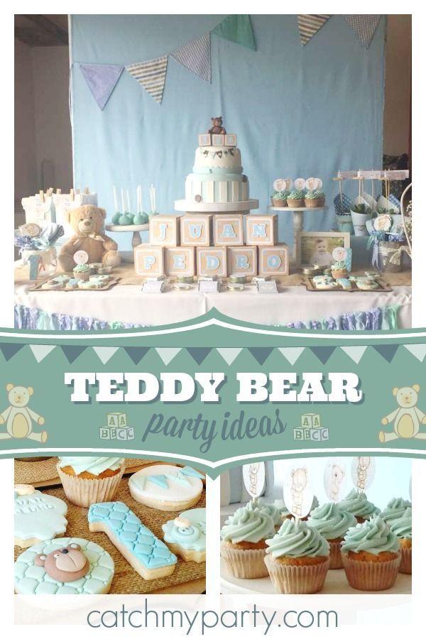 Pequeno Osito Birthday Juan Pedro S Teddy Bear 1st Birthday Party Catch My Party Teddy Bear Birthday Party Teddy Bear Birthday Boy Birthday Cake