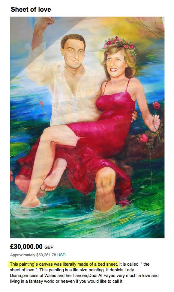 Lady Diana and Dodi Al Fayed portrait lovingly painted on a bed sheet... only $ 50,261 for sale on Etsy!