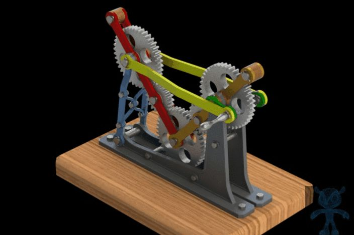 Gear Train Mechanism with Fixed and Swaying Axes--Unnecessary, but a feat none-the-less