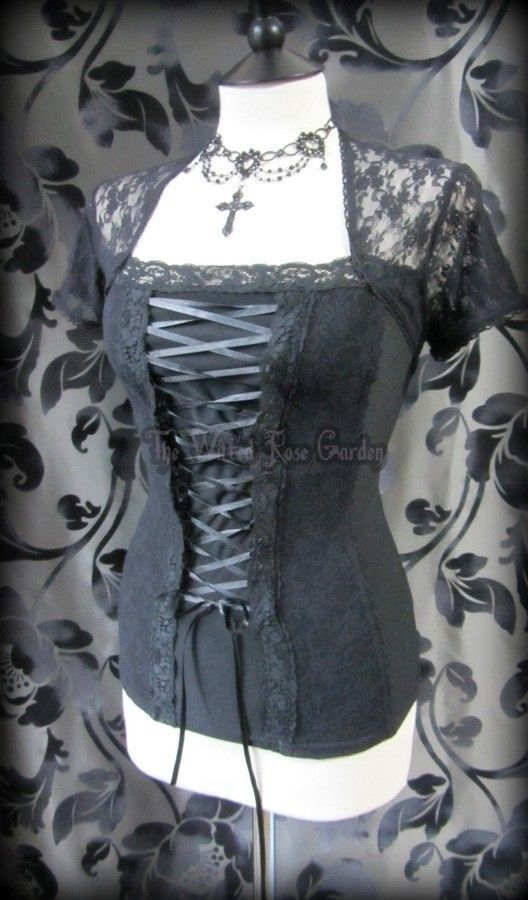 Gorgeous Goth Black Lace Corset Style Shrug Top 16 Gothic Romantic Medieval | THE WILTED ROSE GARDEN on eBay // UK Based // Worldwide Shipping Available