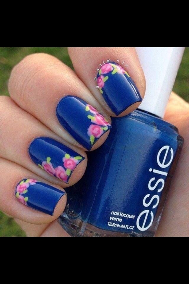 Floral Pink & Dark Blue Nails