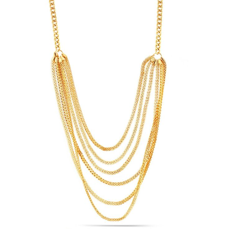 Gold-Tone Metal Chain Multi Color Layered Necklace