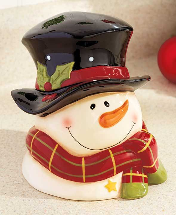 This Snowman Cookie Jar will spread holiday spirit to the busiest room in your home. Store treats in the Cookie Jar under the snowman's hat, which forms the lid. Dolomite. - A country Christmas look f