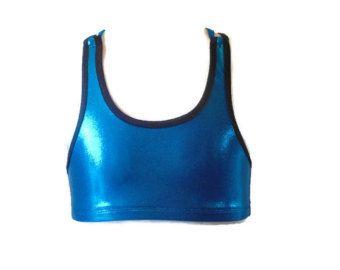crop top bleu pour la danse , brassière fille pour cheerleading, top d'entraînement gymnastique, Zumba, yoga, roller derby, fitness fillette