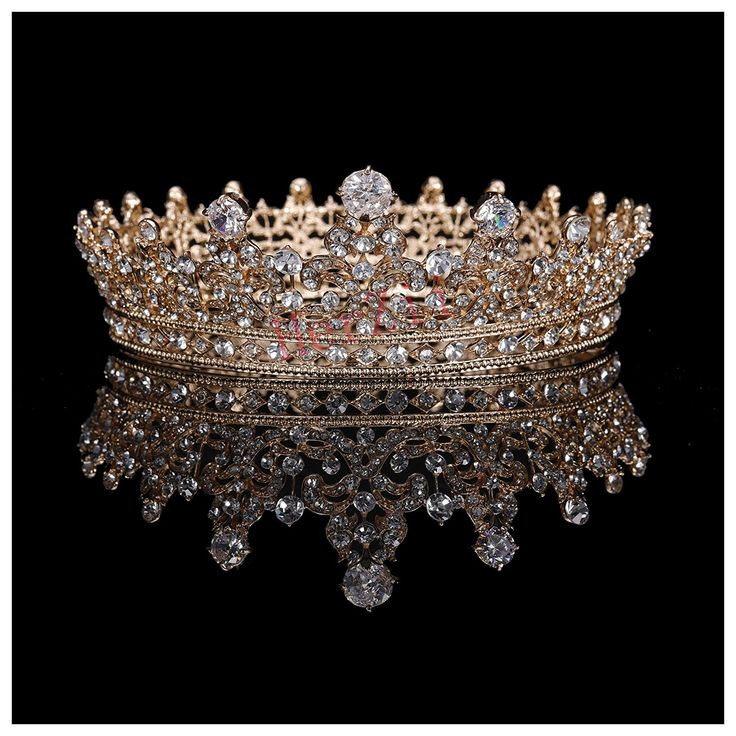 HerZii 3'' Marquise Rhinestone Rose Gold Plated Clear Crystal Crown Bridal Women Hair Jewelry for Wedding HZIKspDp