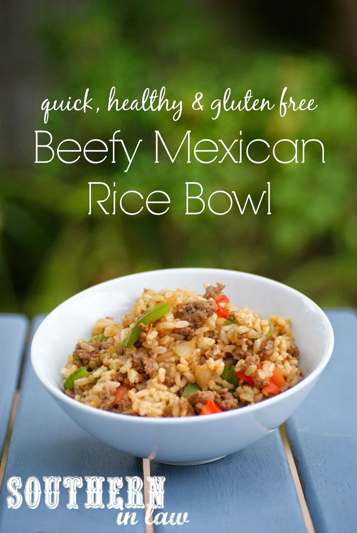 Healthy Beefy Mexican Rice Bowl Recipe - gluten free, clean eating friendly, low fat