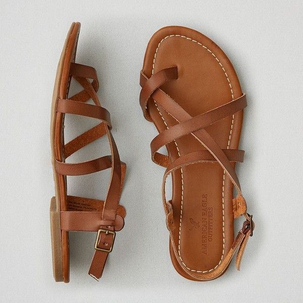 AEO Strappy Sandals ($30) ❤ liked on Polyvore featuring shoes, sandals, brown, strap sandals, american eagle outfitters shoes, padded sandals, brown sandals and cushioned shoes