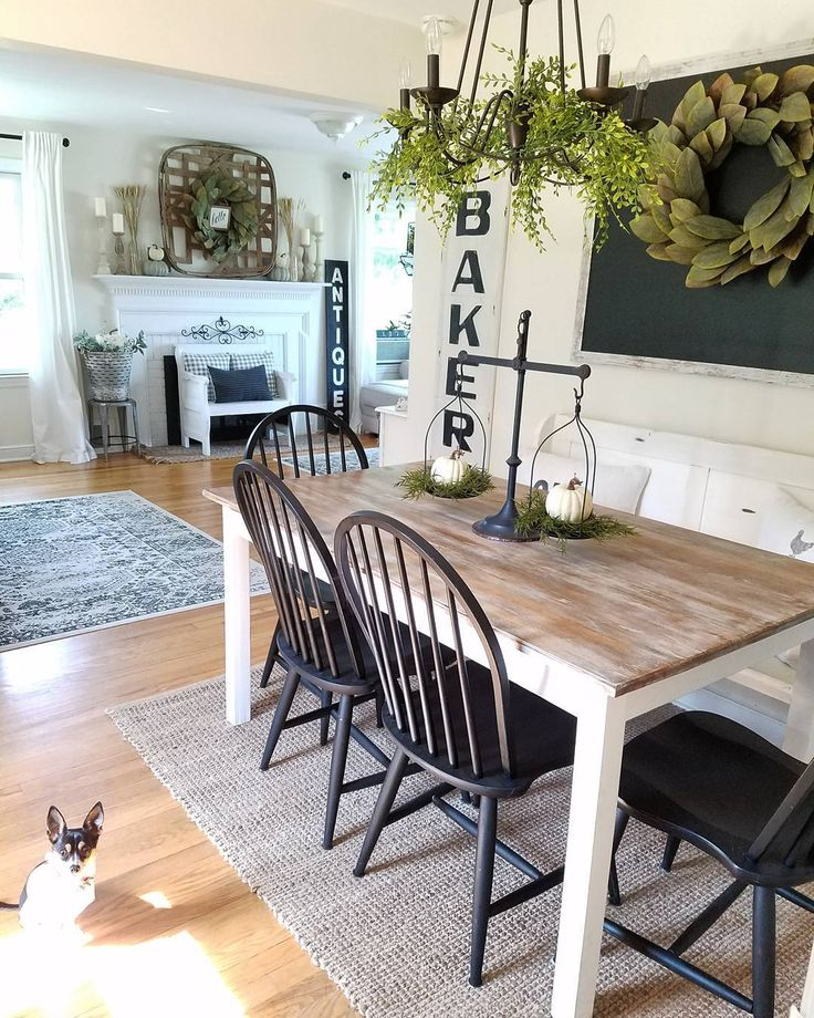 Vintage French Soul ~ Farmhouse Dining Room Love the lil pup in the picture, reminds me of Bella ❤️