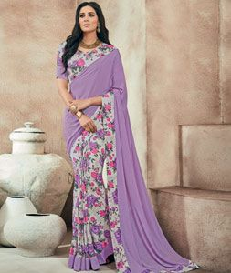 Buy Purple Crepe Printed Saree With Blouse 73992 with blouse online at lowest…