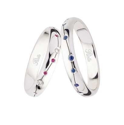 ¿Sabías que en Pattuka encontrarás alianzas de boda tan especiales como estas?. Puro diseño italiano en otro blanco con diamantes, rubíes y zafiros en el mismo #anillo. #bodasgalicia #bodaspontevedra #anillosdeboda #weddingbands