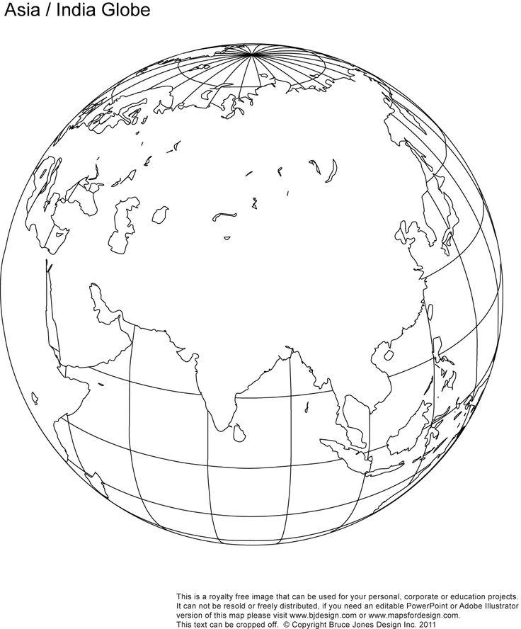 Fill in Asia-India Blank Globe map