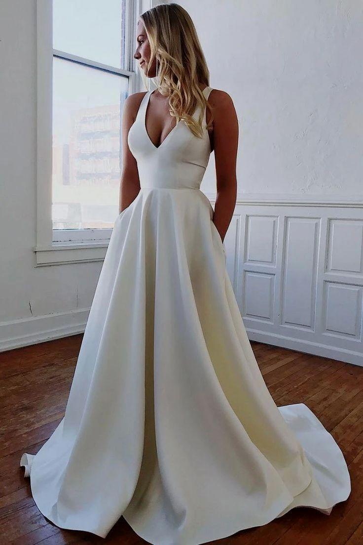 29 Great A Line Wedding Dresses Wedding Dressforbraid V Neck Wedding Dress Satin Wedding Gown Ivory Wedding Dress [ 1103 x 736 Pixel ]