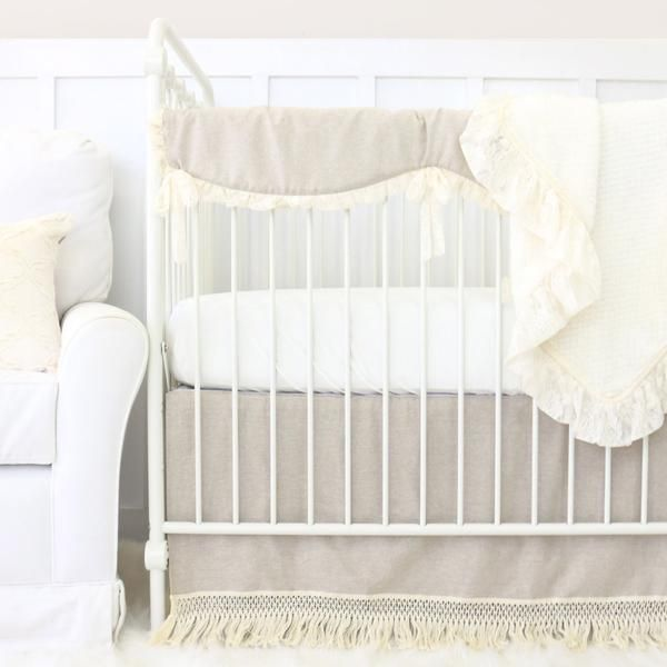 Boho Linen and Ivory Fringe Bumperless Crib Bedding
