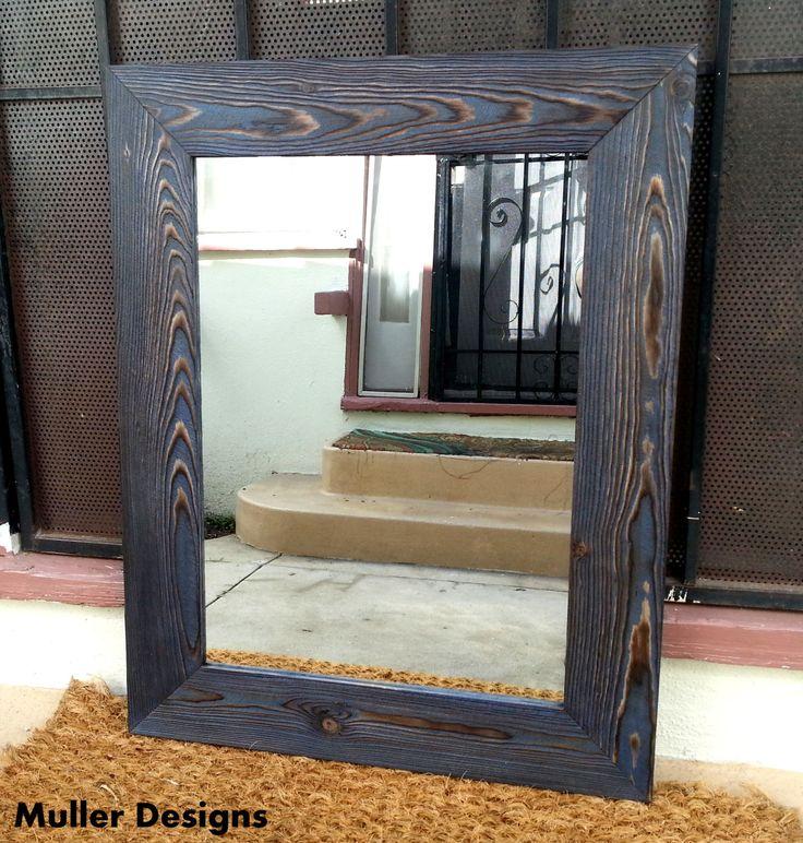 wood mirror navy blue vanity mirrors bathroom mirrors mirrored furniture - Mirrored Bathroom Vanity