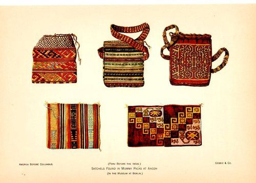 SATCHELS FOUND IN MUMMY PACKS AT ANCON, PERU in a museum in Berlin