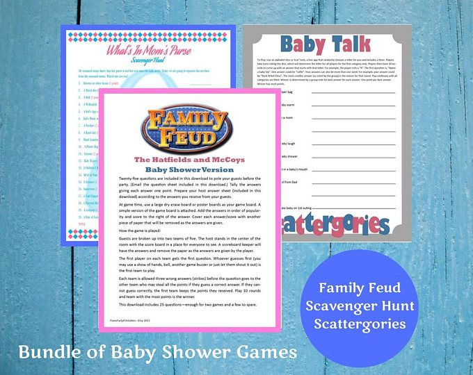 Baby Shower Printable Games Bundle -Lot of 3 Game - Scattergories, Family Feud & Mom's Purse Scavenger Hunt - Family Friendly