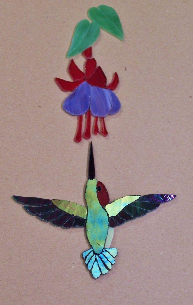 Precut Stained Glass Art Hummingbird Amp Fuchsia Kit Mosaic