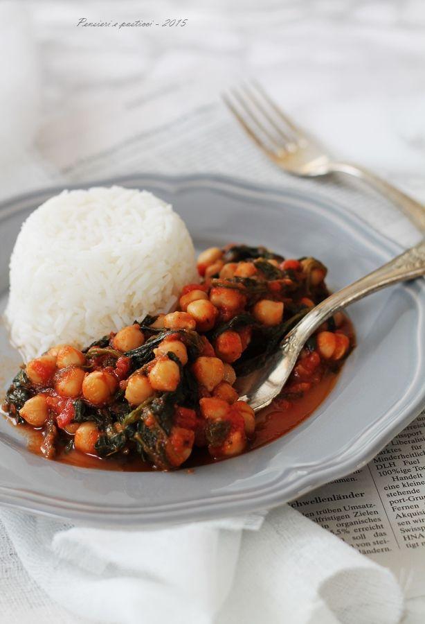 Ceci e spinacini al pomodoro, profumati all'orientale – ricetta vegana | pensieri e pasticci
