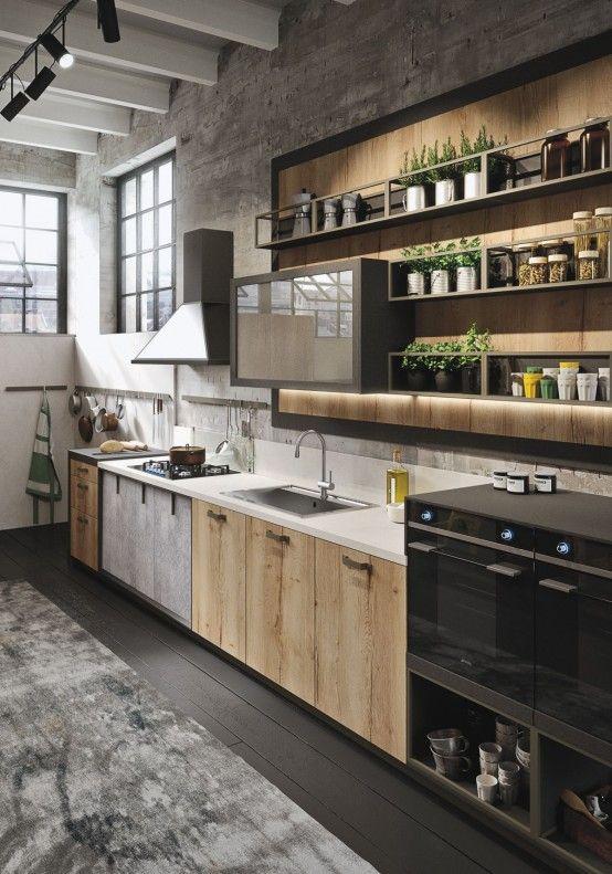 Stoere industriële keuken, combinatie van wit zwart en hout - www.witzand.nl