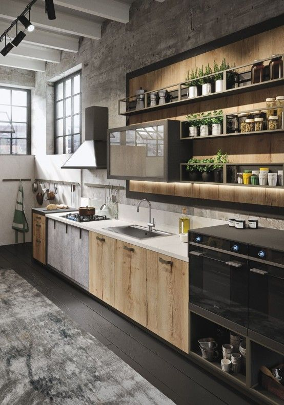 Industrial And Rustic Loft Kitchen By Snaidero