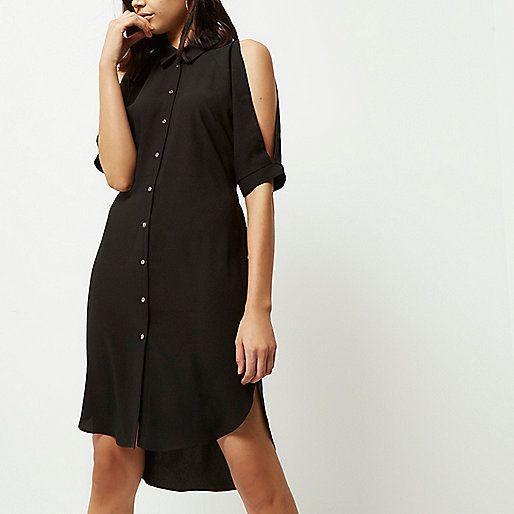 Zwarte schouderloze overhemdjurk - Overhemdjurken - jurken - dames