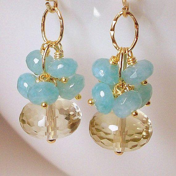 Lemon Quartz, Aquamarine Cluster Earrings / 14K Goldfilled
