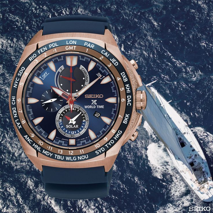 Dünya Saatli Seiko Prospex Solar Kronograf, denizde yaşayanlar için tasarlandı… Dünya çapında denizciler için mükemmel bir kalibreye sahip yeni model, 2. saat özelliği ile hem yerel hem de çıktığı ülke saatini eş zamanlı olarak gösterir. Ref:SSC518P #seiko